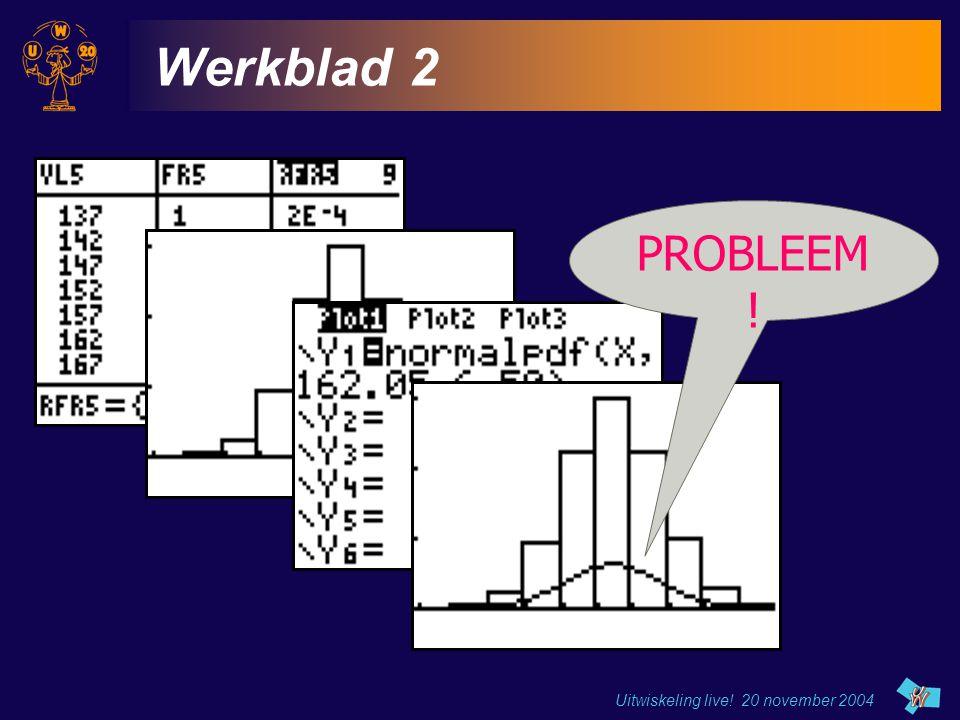 Werkblad 2 PROBLEEM ! Uitwiskeling live! 20 november 2004