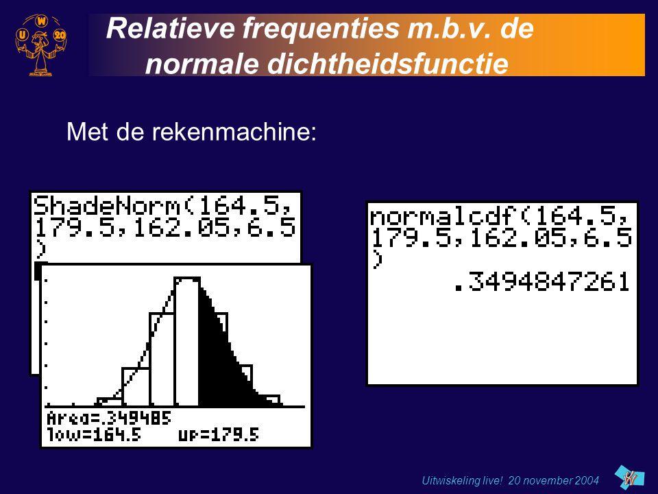 Relatieve frequenties m.b.v. de normale dichtheidsfunctie