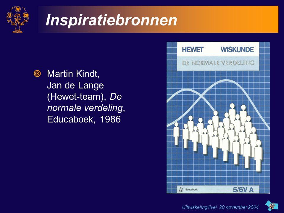 Inspiratiebronnen Martin Kindt, Jan de Lange (Hewet-team), De normale verdeling, Educaboek, 1986.