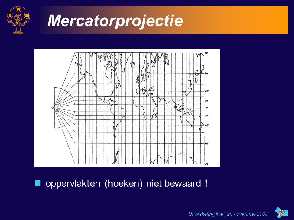 Mercatorprojectie oppervlakten (hoeken) niet bewaard !