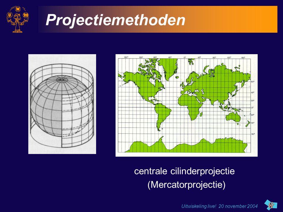 Projectiemethoden centrale cilinderprojectie (Mercatorprojectie)