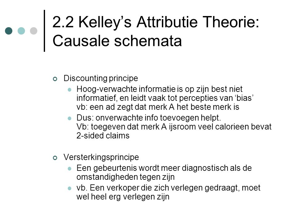 2.2 Kelley's Attributie Theorie: Causale schemata