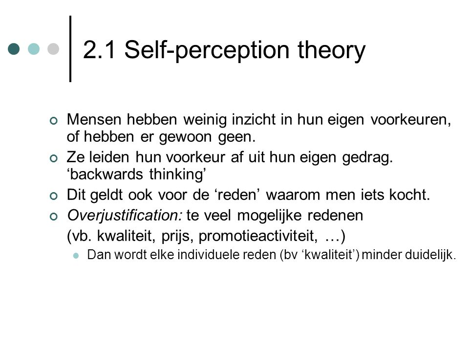 2.1 Self-perception theory