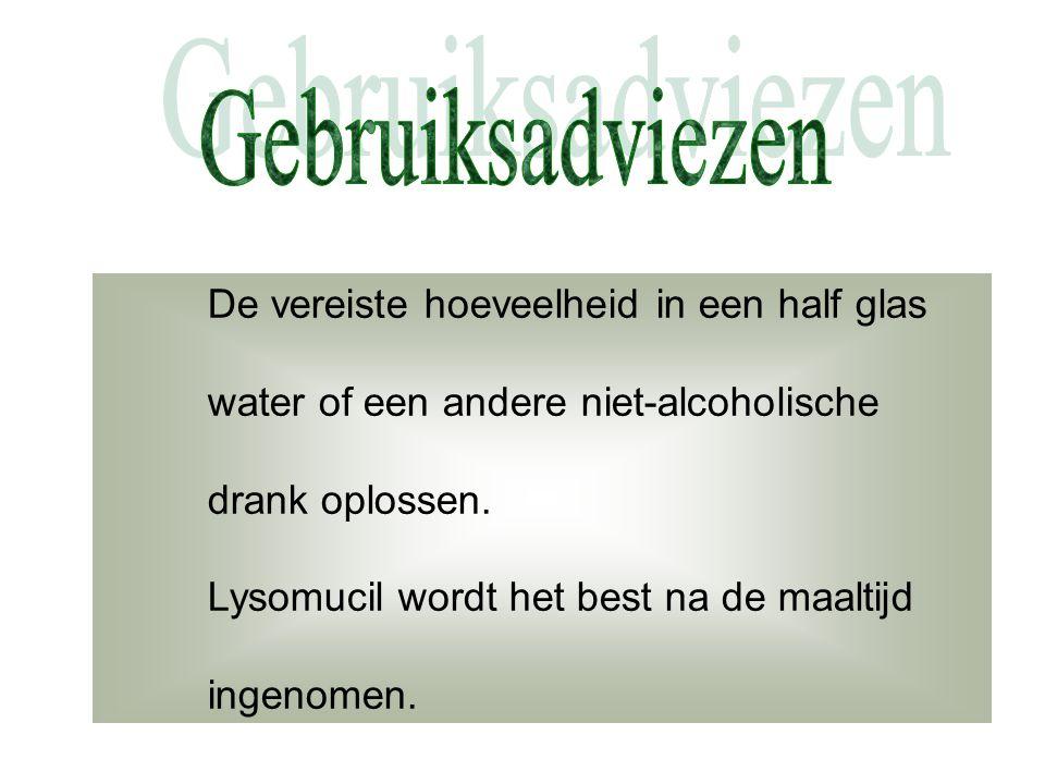 Gebruiksadviezen De vereiste hoeveelheid in een half glas