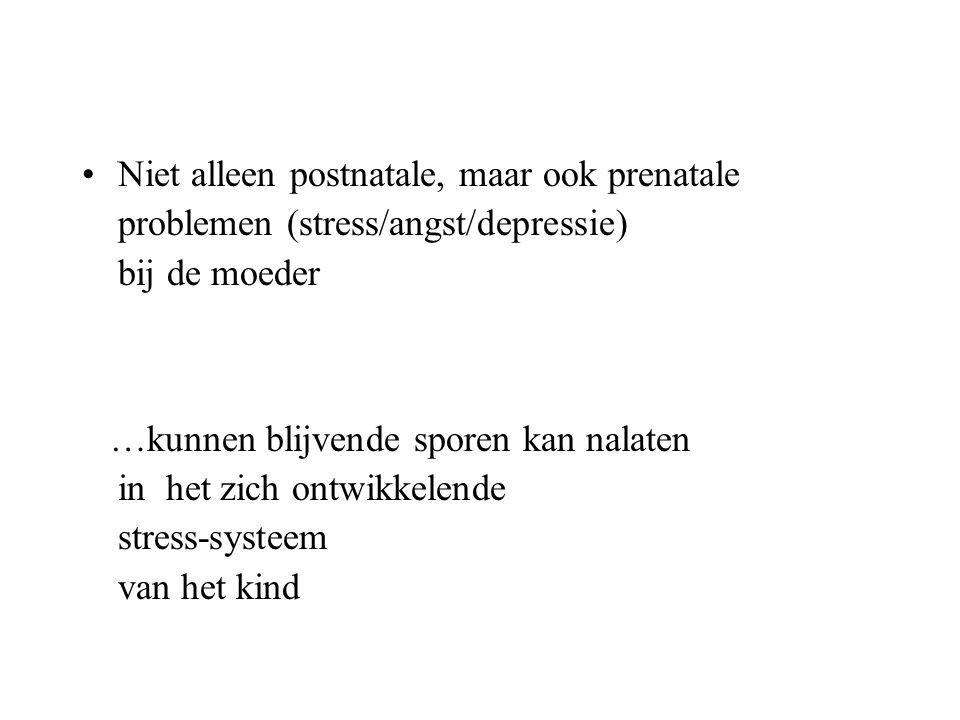 Niet alleen postnatale, maar ook prenatale problemen (stress/angst/depressie) bij de moeder