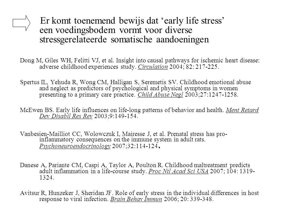 Er komt toenemend bewijs dat 'early life stress' een voedingsbodem vormt voor diverse stressgerelateerde somatische aandoeningen