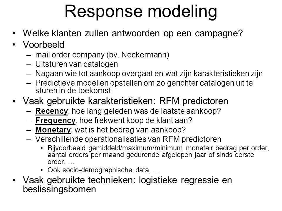 Response modeling Welke klanten zullen antwoorden op een campagne