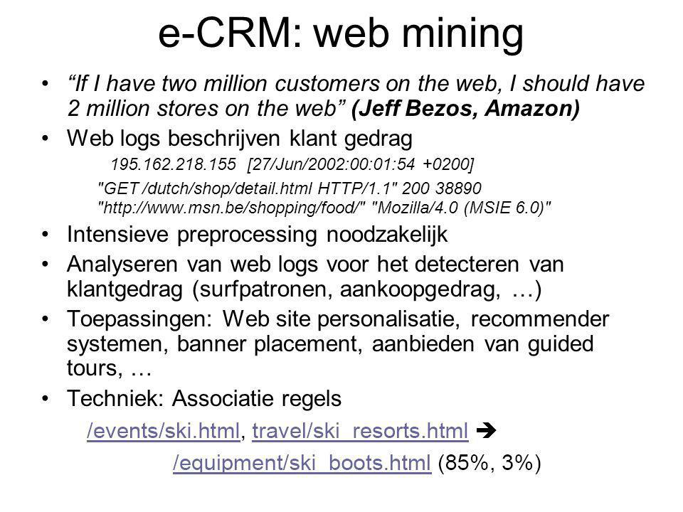 e-CRM: web mining If I have two million customers on the web, I should have 2 million stores on the web (Jeff Bezos, Amazon)