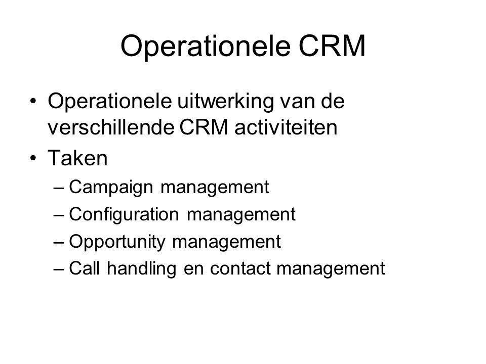 Operationele CRM Operationele uitwerking van de verschillende CRM activiteiten. Taken. Campaign management.