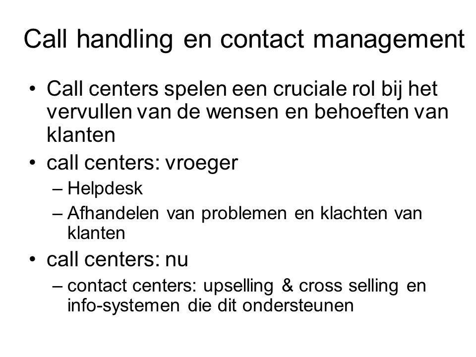 Call handling en contact management