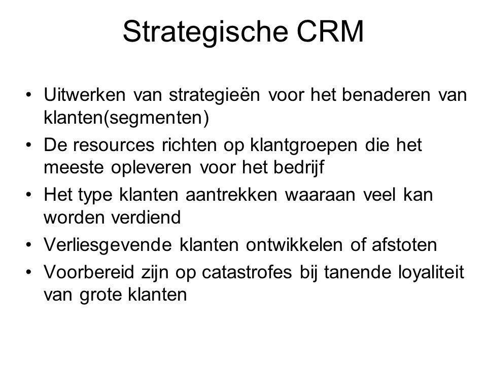 Strategische CRM Uitwerken van strategieën voor het benaderen van klanten(segmenten)
