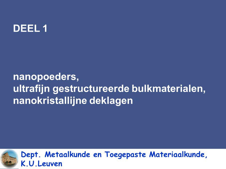 DEEL 1 nanopoeders, ultrafijn gestructureerde bulkmaterialen, nanokristallijne deklagen.
