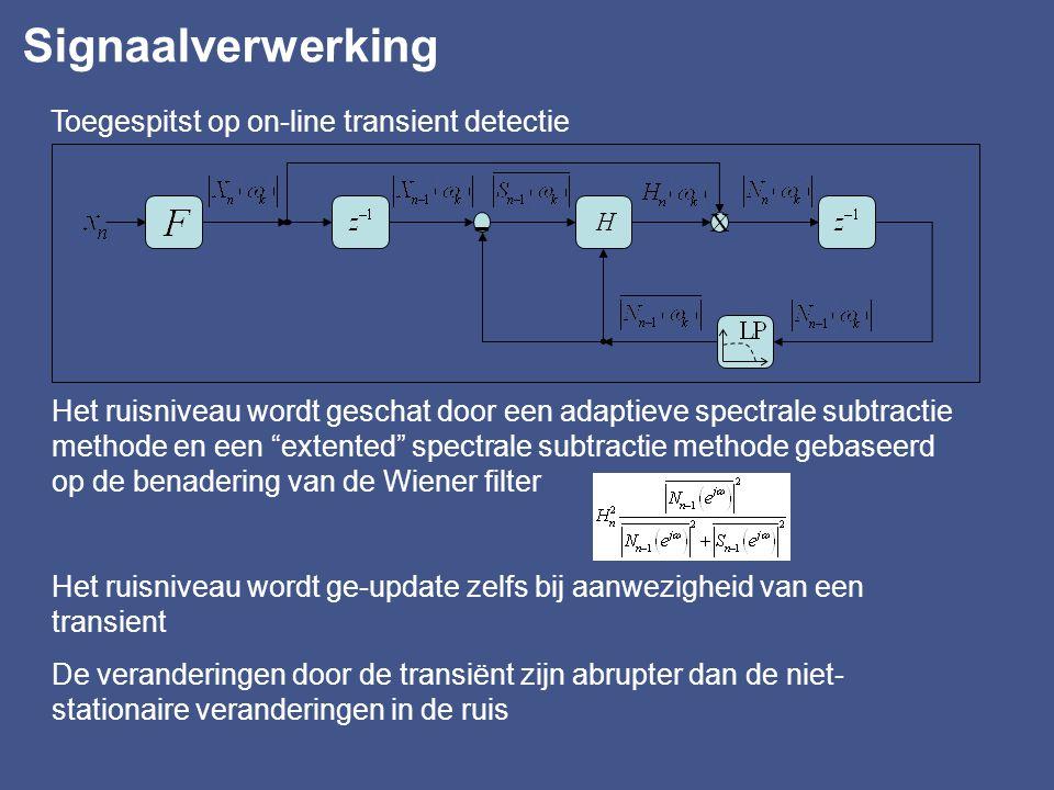 - Signaalverwerking Toegespitst op on-line transient detectie