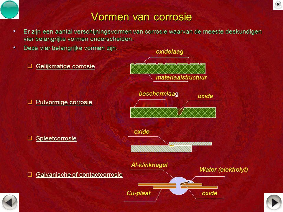 Vormen van corrosie Er zijn een aantal verschijningsvormen van corrosie waarvan de meeste deskundigen vier belangrijke vormen onderscheiden.