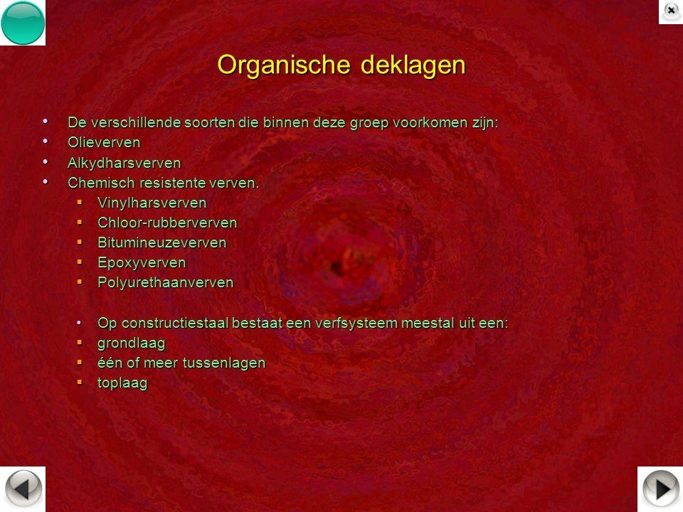 Organische deklagen De verschillende soorten die binnen deze groep voorkomen zijn: Olieverven. Alkydharsverven.