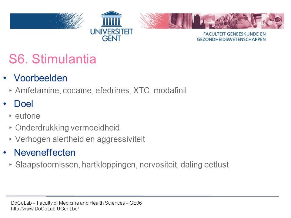 S6. Stimulantia Voorbeelden Doel Neveneffecten