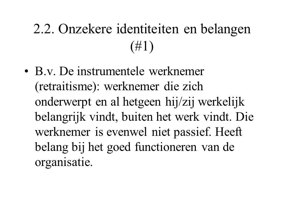 2.2. Onzekere identiteiten en belangen (#1)