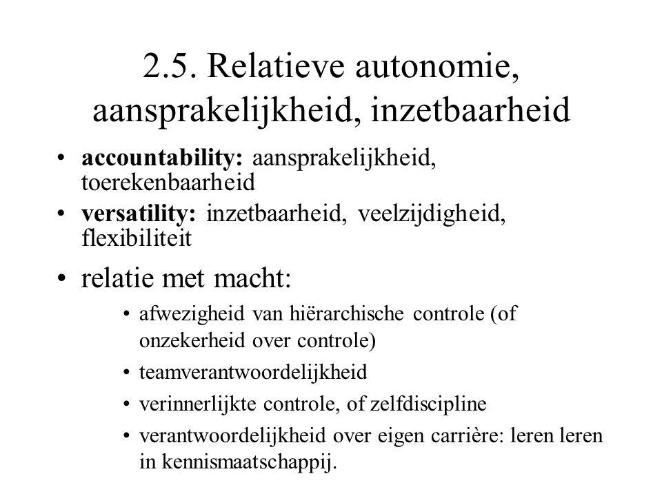 2.5. Relatieve autonomie, aansprakelijkheid, inzetbaarheid