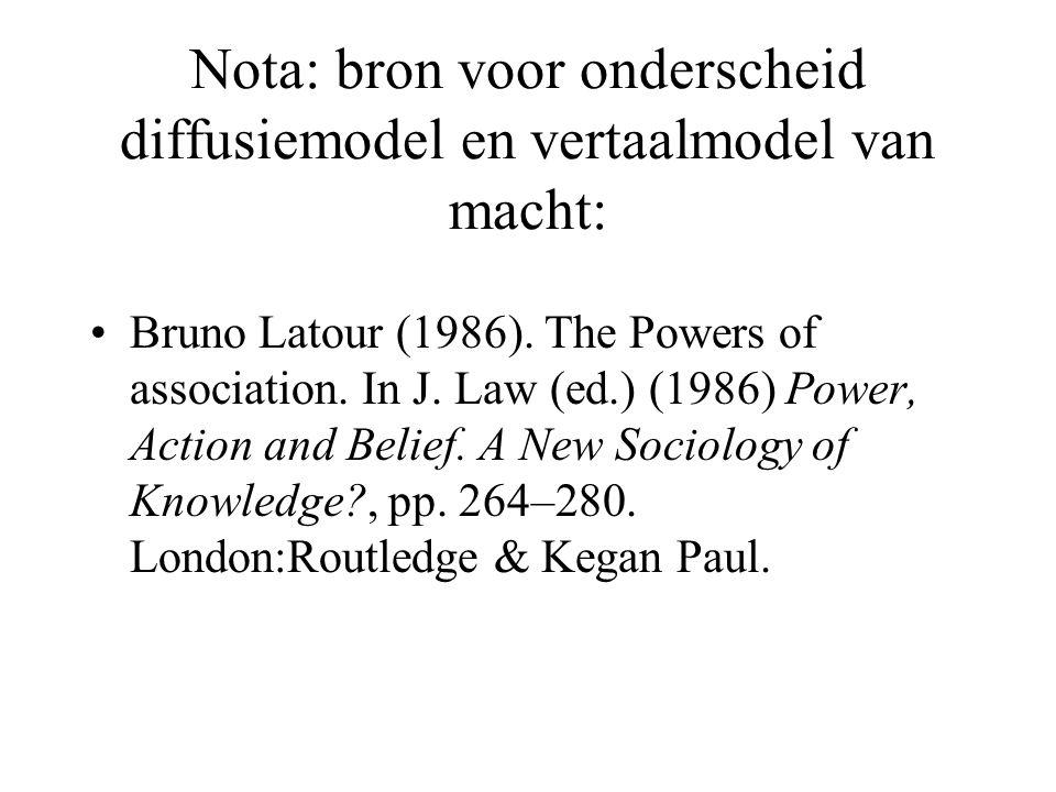 Nota: bron voor onderscheid diffusiemodel en vertaalmodel van macht: