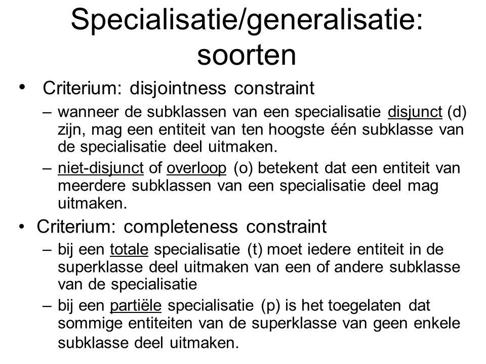 Specialisatie/generalisatie: soorten