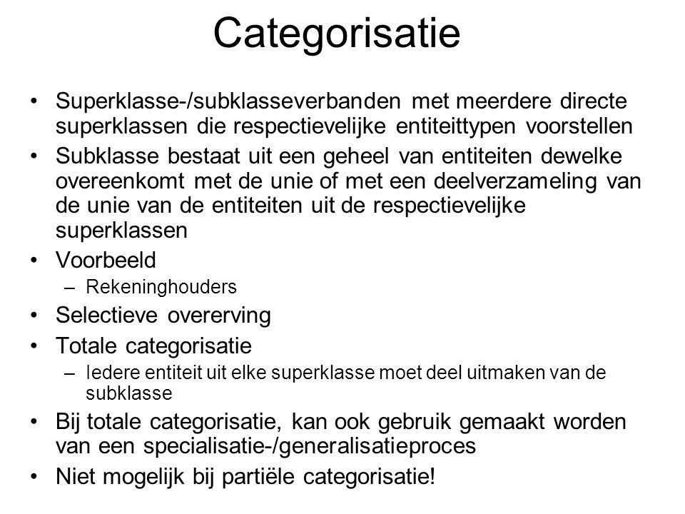Categorisatie Superklasse-/subklasseverbanden met meerdere directe superklassen die respectievelijke entiteittypen voorstellen.