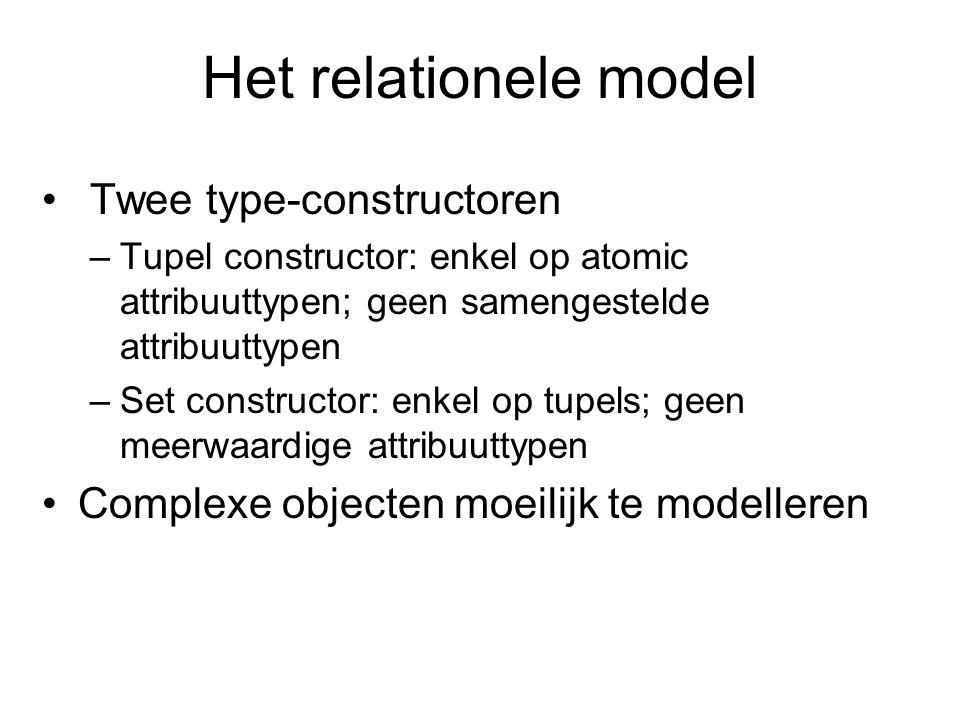 Het relationele model Twee type-constructoren