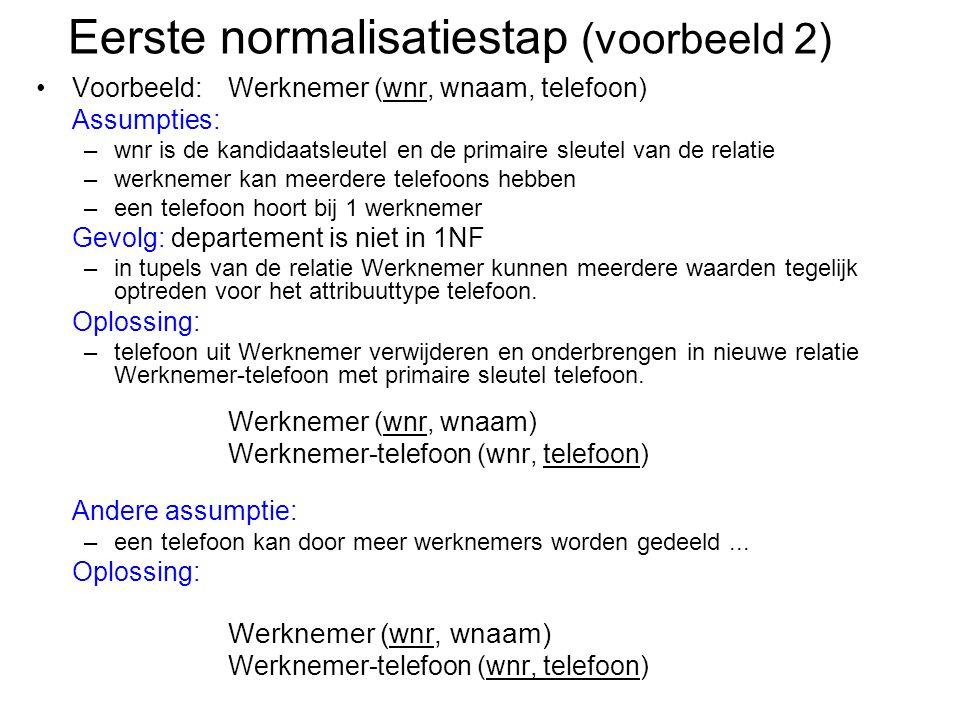 Eerste normalisatiestap (voorbeeld 2)