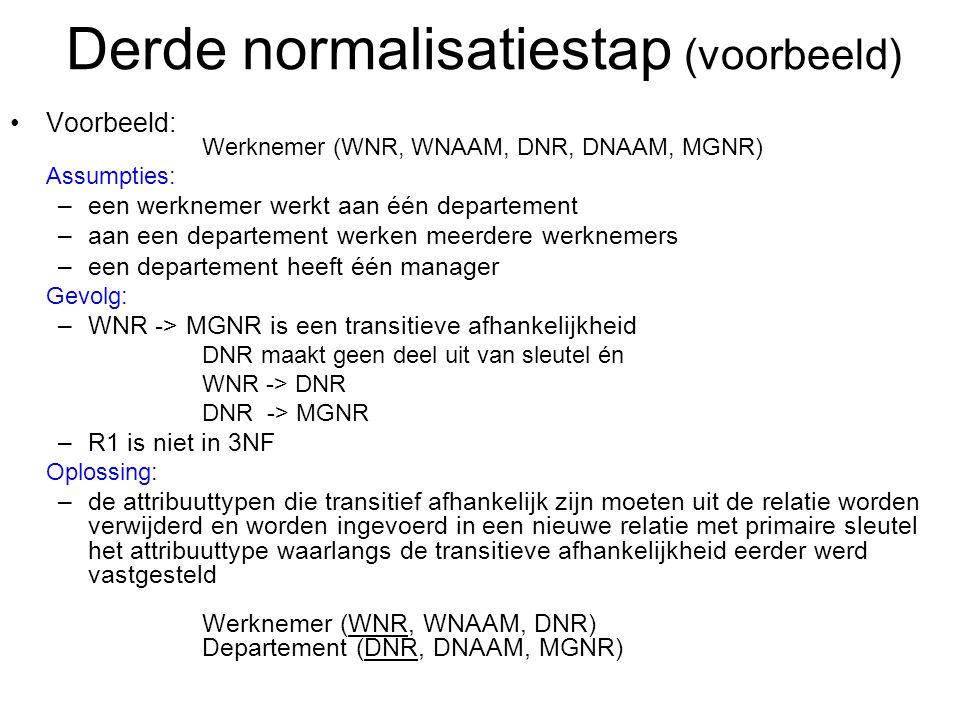 Derde normalisatiestap (voorbeeld)