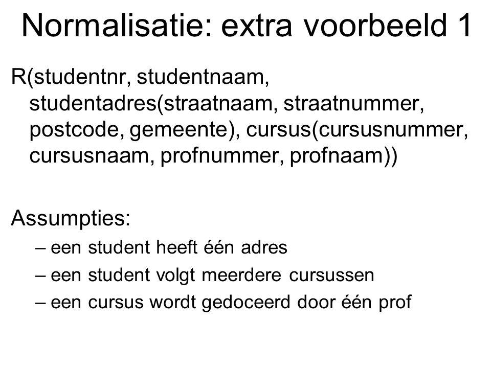 Normalisatie: extra voorbeeld 1