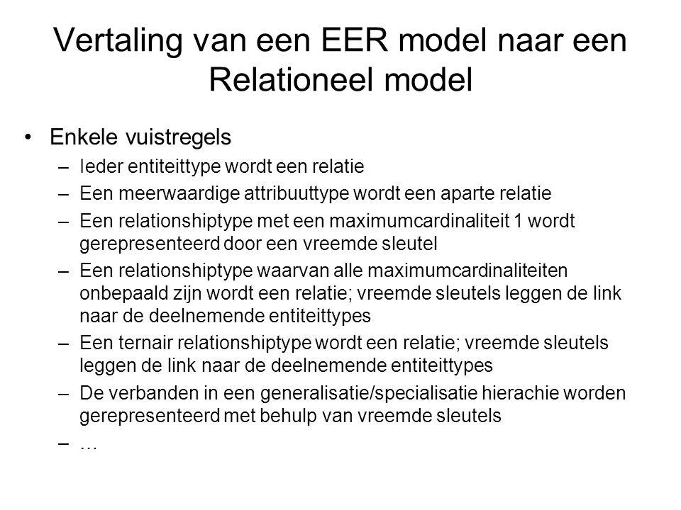 Vertaling van een EER model naar een Relationeel model