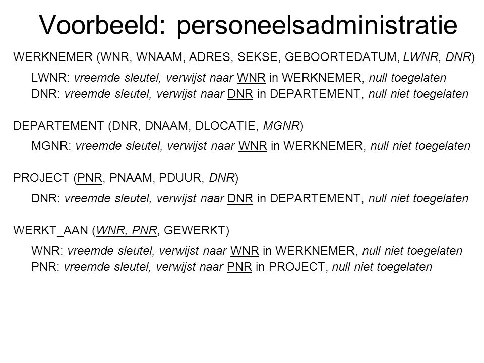 Voorbeeld: personeelsadministratie