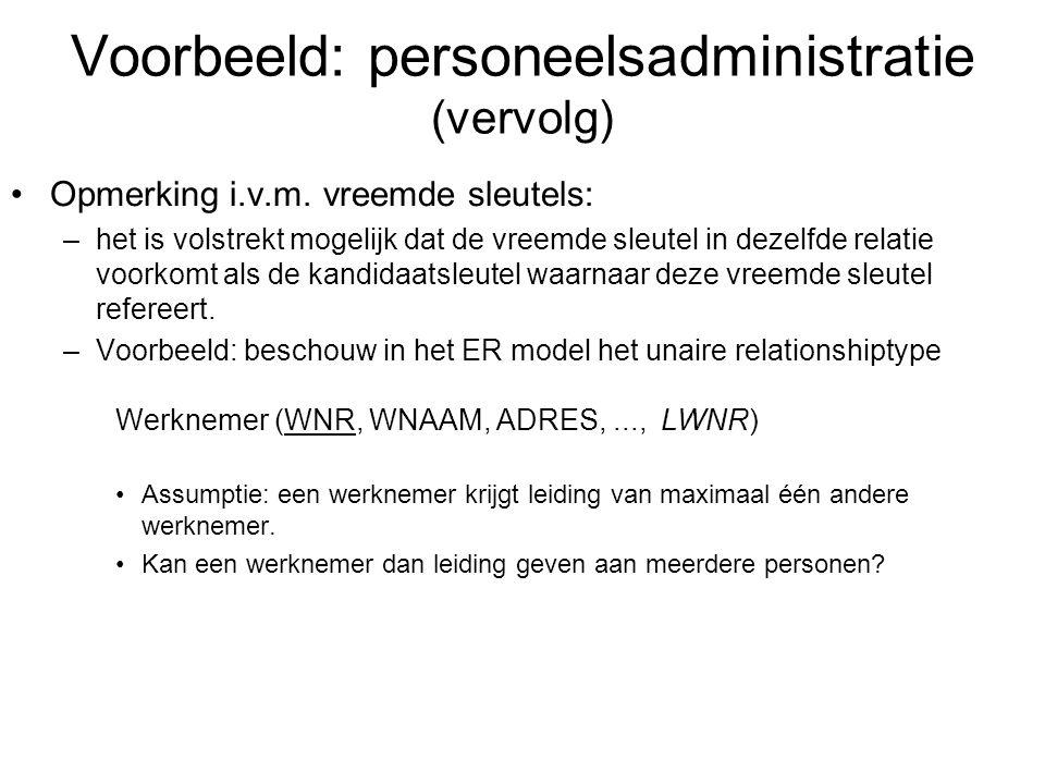 Voorbeeld: personeelsadministratie (vervolg)