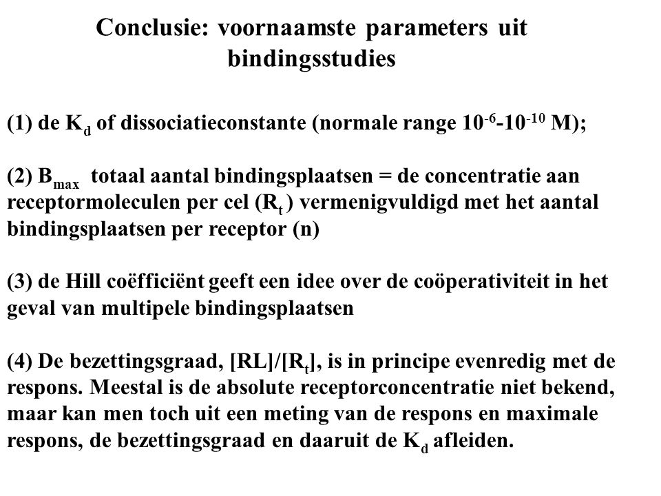 Conclusie: voornaamste parameters uit bindingsstudies