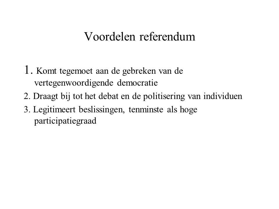 1. Komt tegemoet aan de gebreken van de vertegenwoordigende democratie