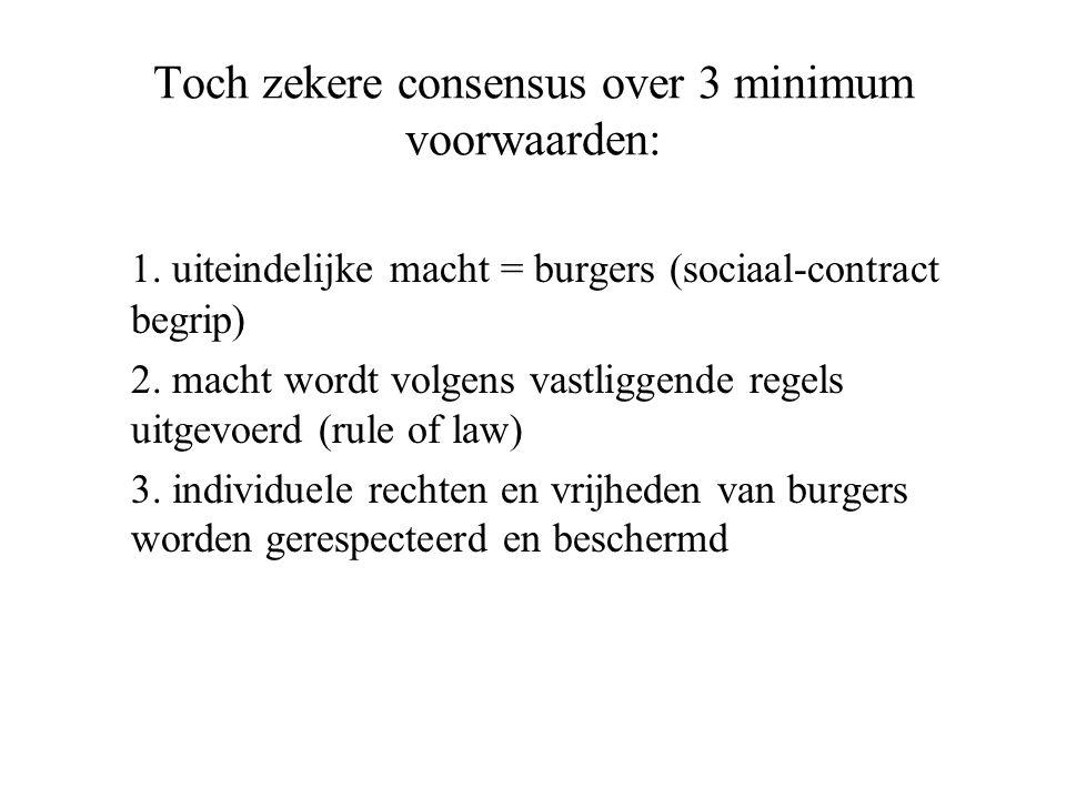 Toch zekere consensus over 3 minimum voorwaarden: