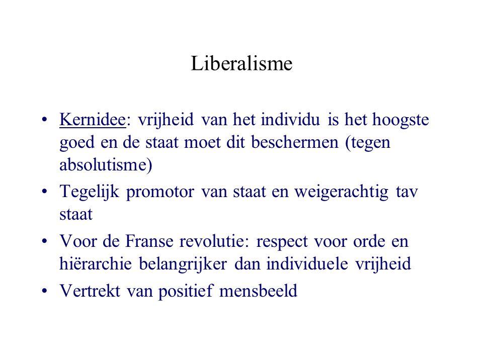 Liberalisme Kernidee: vrijheid van het individu is het hoogste goed en de staat moet dit beschermen (tegen absolutisme)