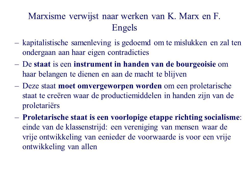 Marxisme verwijst naar werken van K. Marx en F. Engels