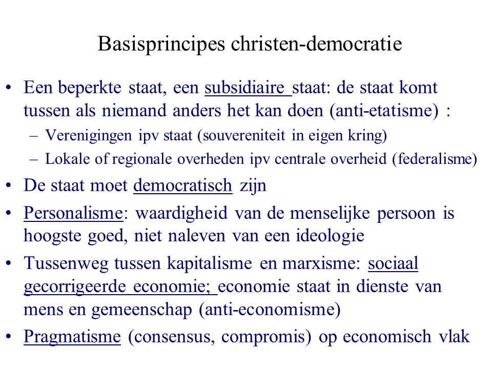 Basisprincipes christen-democratie