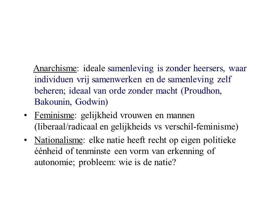 Anarchisme: ideale samenleving is zonder heersers, waar individuen vrij samenwerken en de samenleving zelf beheren; ideaal van orde zonder macht (Proudhon, Bakounin, Godwin)