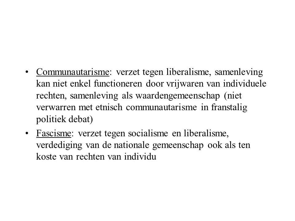 Communautarisme: verzet tegen liberalisme, samenleving kan niet enkel functioneren door vrijwaren van individuele rechten, samenleving als waardengemeenschap (niet verwarren met etnisch communautarisme in franstalig politiek debat)