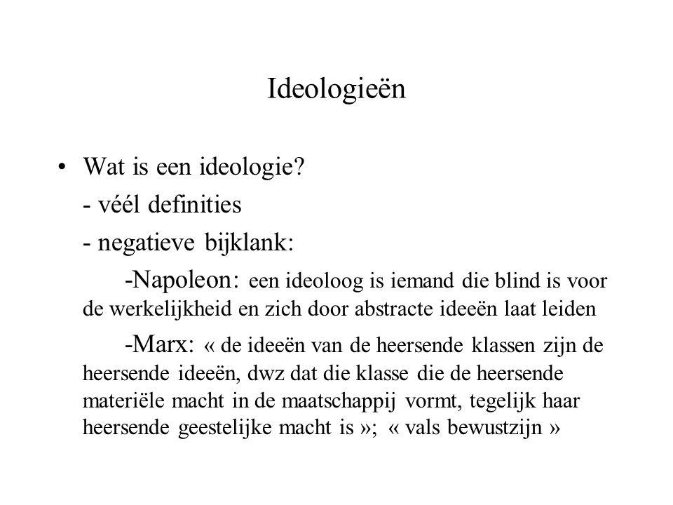 Ideologieën Wat is een ideologie - véél definities