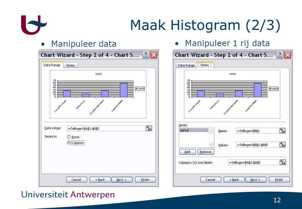 Maak Histogram (2/3) Manipuleer data Manipuleer 1 rij data