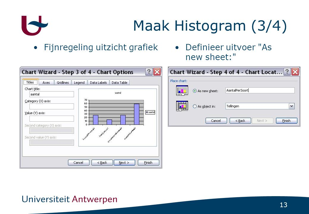 Maak Histogram (3/4) Fijnregeling uitzicht grafiek