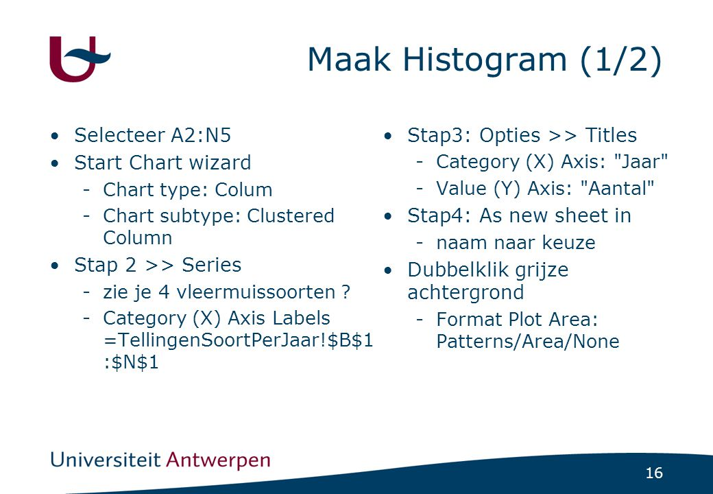 Maak Histogram (1/2) Selecteer A2:N5 Start Chart wizard