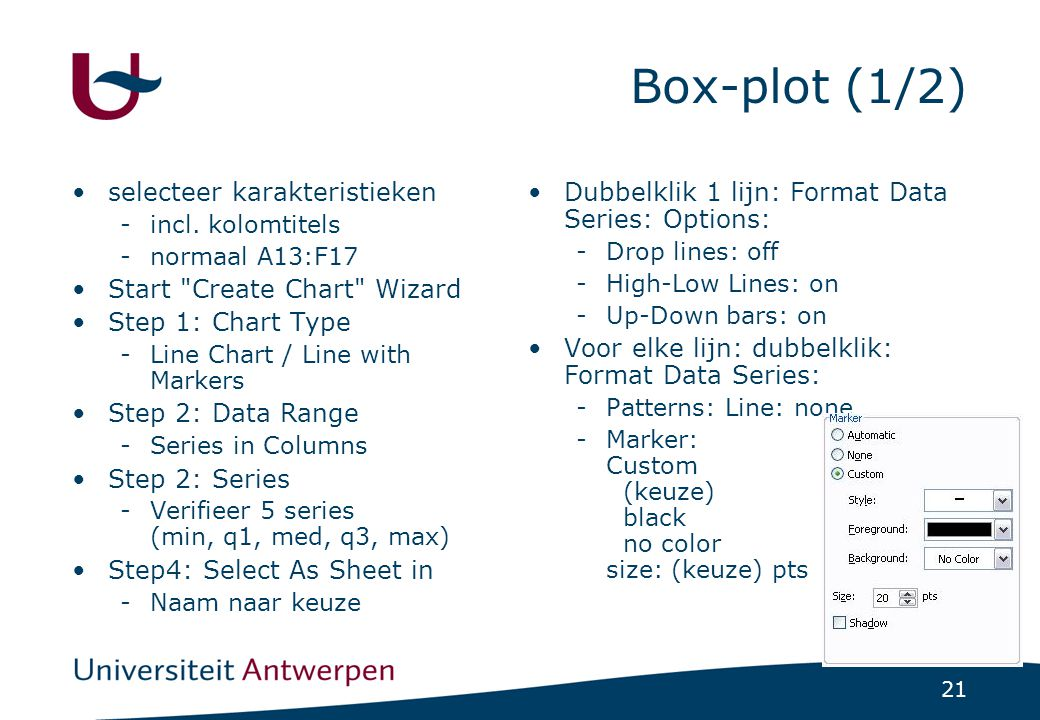 Box-plot (1/2) selecteer karakteristieken Start Create Chart Wizard