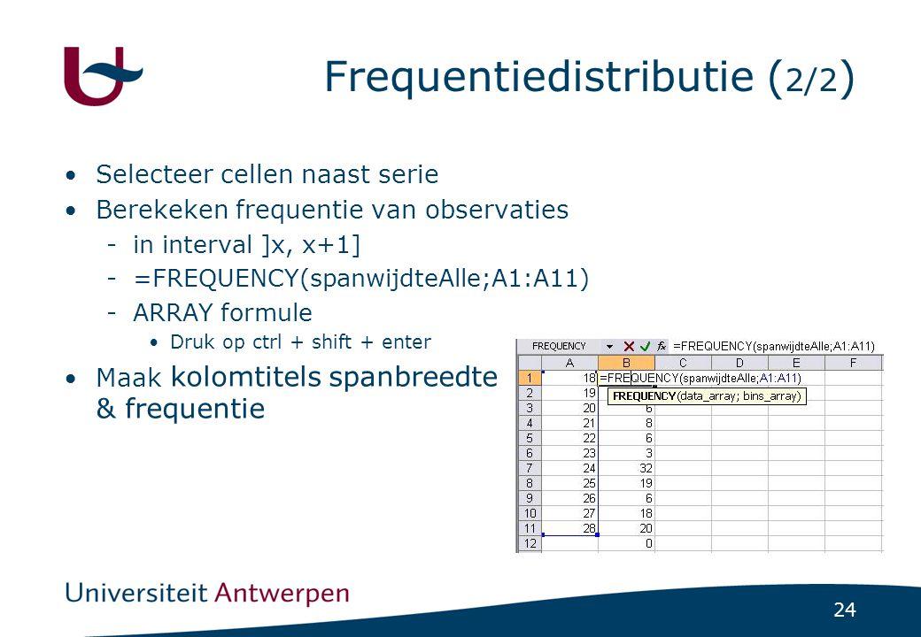 Frequentiedistributie (2/2)