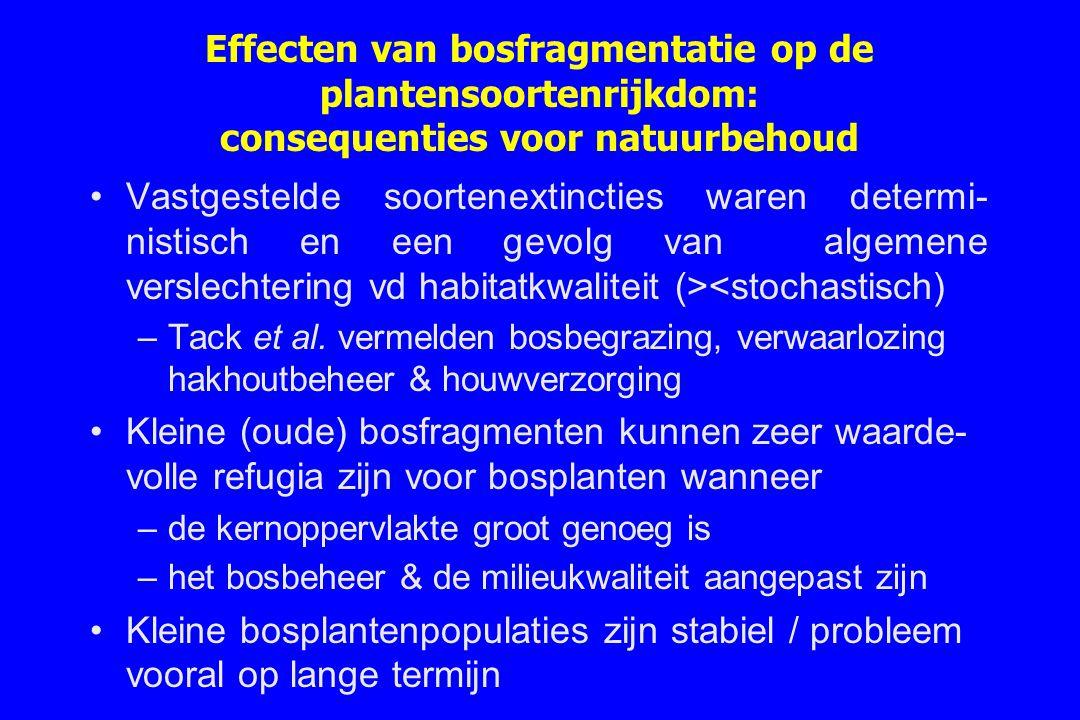 Effecten van bosfragmentatie op de plantensoortenrijkdom: consequenties voor natuurbehoud