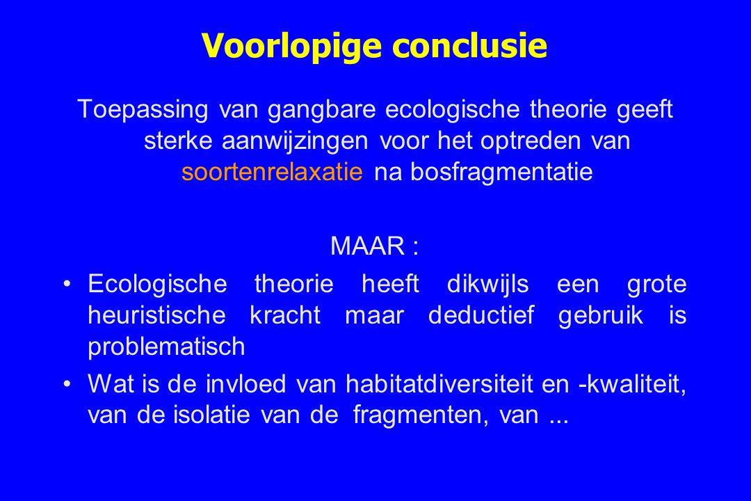 Voorlopige conclusie Toepassing van gangbare ecologische theorie geeft sterke aanwijzingen voor het optreden van soortenrelaxatie na bosfragmentatie.