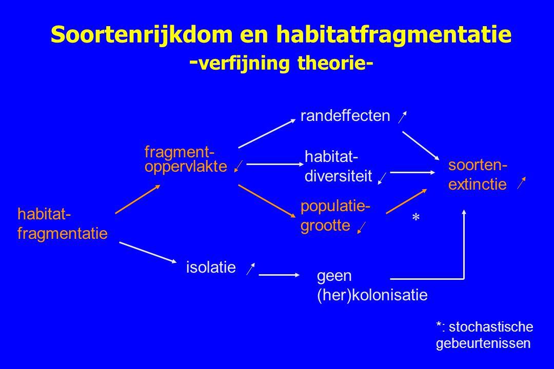 Soortenrijkdom en habitatfragmentatie -verfijning theorie-