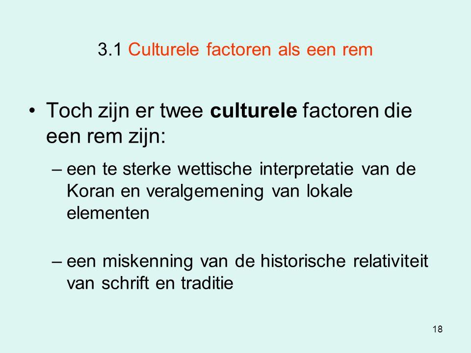 3.1 Culturele factoren als een rem